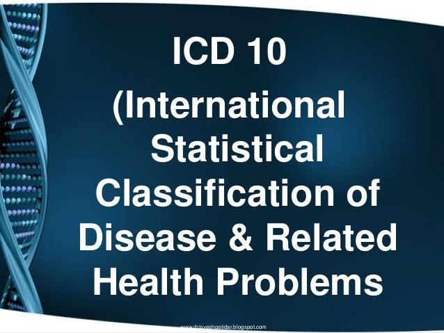 ICD 10(InternationalStatisticalClassification ofDisease & RelatedHealth Problemswww.drjayeshpatidar.blogspot.com