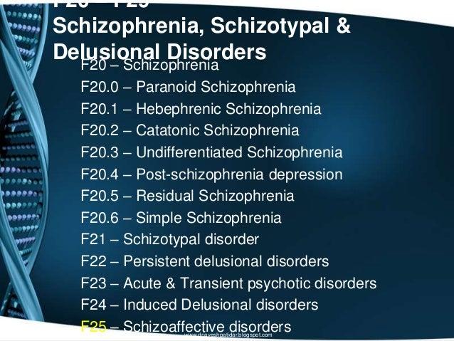 F20 – F29Schizophrenia, Schizotypal &Delusional DisordersF20 – SchizophreniaF20.0 – Paranoid SchizophreniaF20.1 – Hebephre...