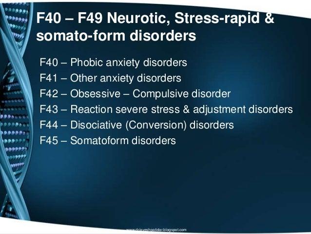 F40 – F49 Neurotic, Stress-rapid &somato-form disordersF40 – Phobic anxiety disordersF41 – Other anxiety disordersF42 – Ob...