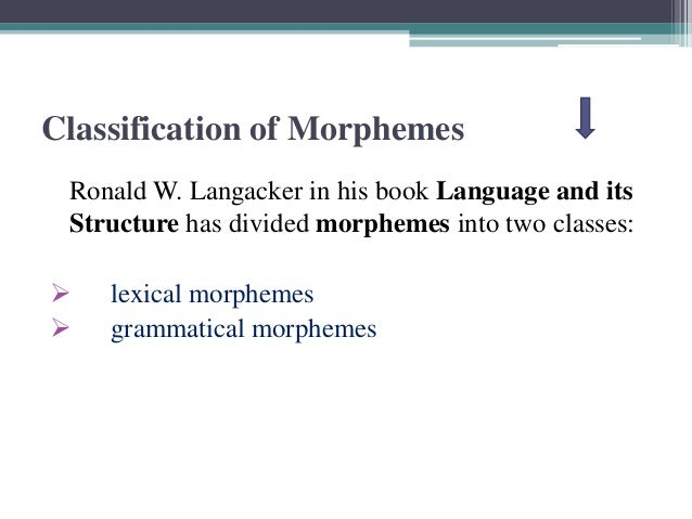 Classification of MorphemesRonald W. Langacker in his book Language and itsStructure has divided morphemes into two classe...