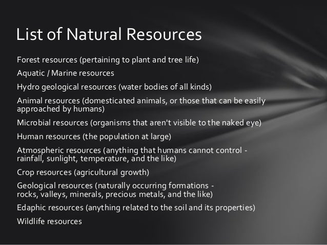 Classification Of Natural And Human Resources