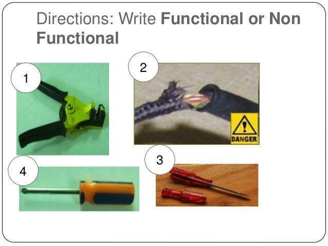 Directions: Write Functional or Non Functional 1 2 4 3