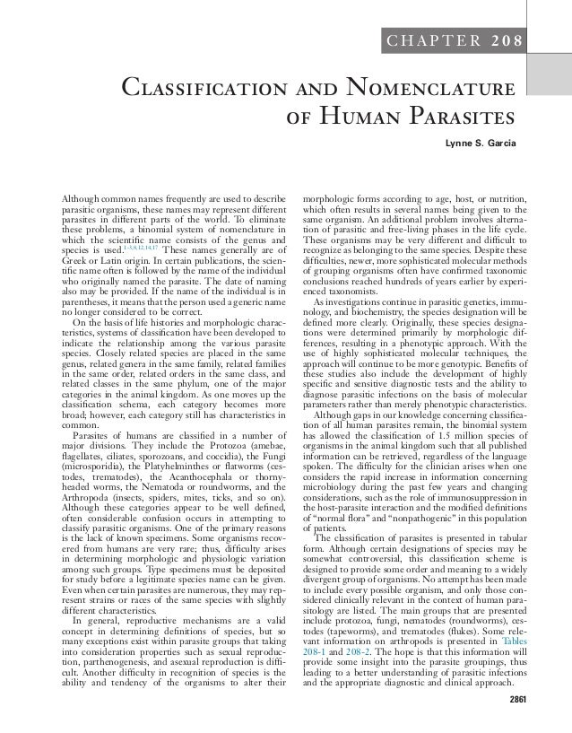 Classification of parasites