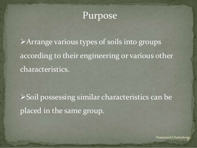 Classification of soil for Different types of soil and their characteristics
