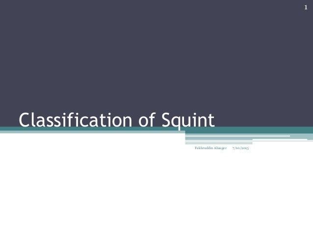 Classification of Squint 7/10/2013 1 Fakhruddin Aliasger
