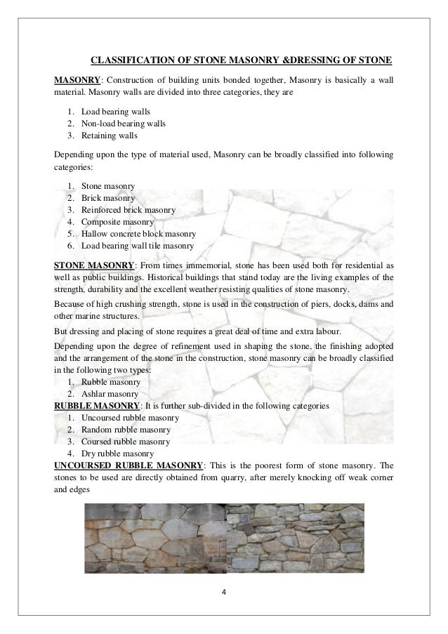 Classification of stone masonryinterior design student work