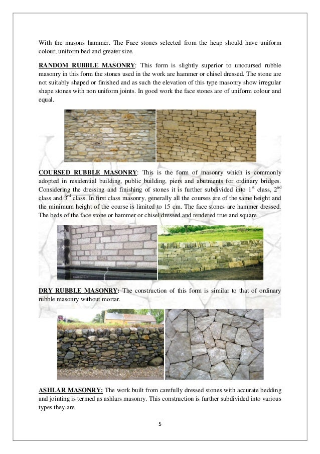 Classification of stone masonry(interior design student work)