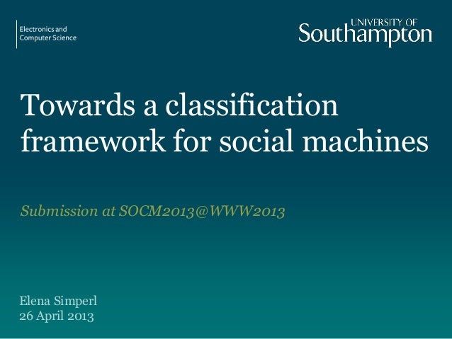 Towards a classificationframework for social machinesSubmission at SOCM2013@WWW2013Elena Simperl26 April 2013