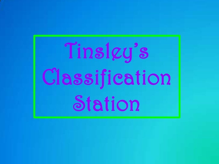 Tinsley's <br />Classification Station<br />