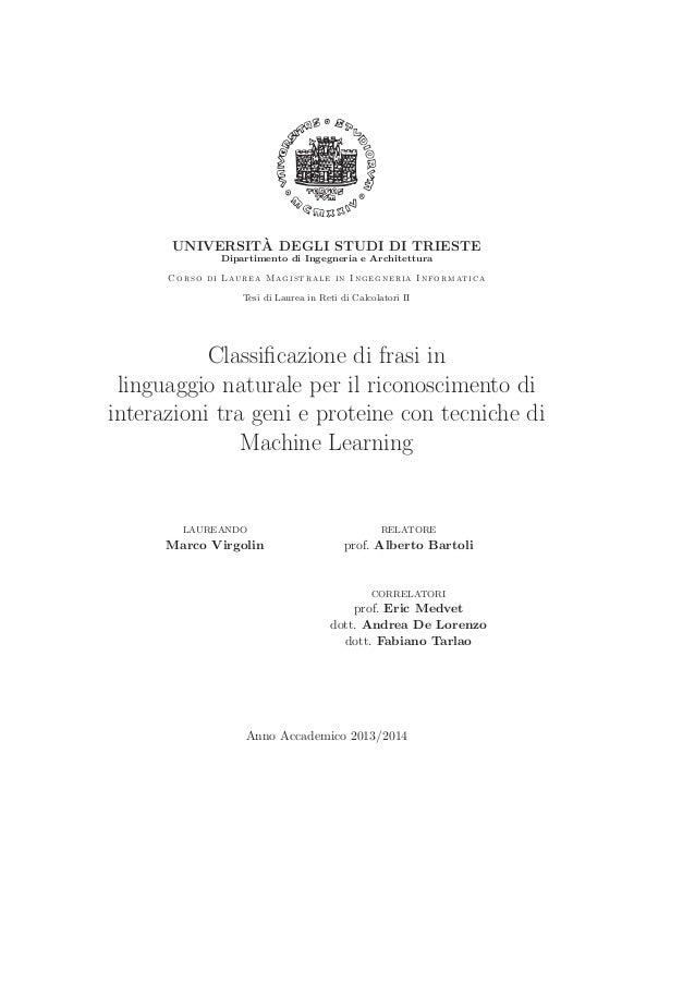 UNIVERSIT`A DEGLI STUDI DI TRIESTE Dipartimento di Ingegneria e Architettura Corso di Laurea Magistrale in Ingegneria Info...