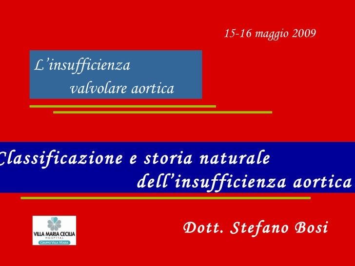 L'insufficienza  valvolare aortica   Classificazione e storia naturale  dell'insufficienza aortica   15-16 maggio 2009 Dot...