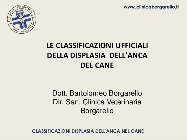 www.clinicaborgarello.it     LE CLASSIFICAZIONI UFFICIALI     DELLA DISPLASIA DELLANCA              DEL CANE       Dott. B...