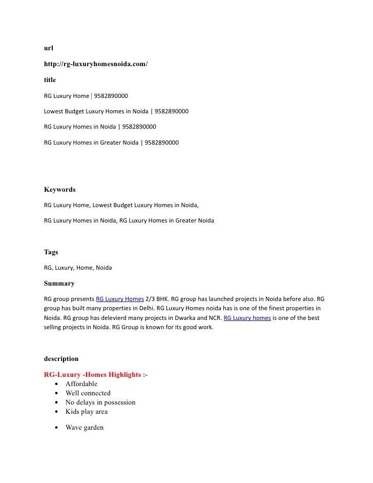url  http://rg-luxuryhomesnoida.com/  title  RG Luxury Home | 9582890000  Lowest Budget Luxury Homes in Noida | 9582890000...