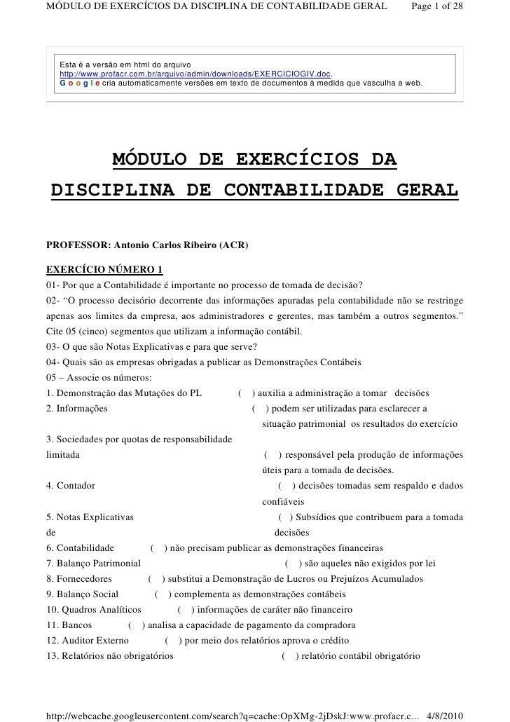 MÓDULO DE EXERCÍCIOS DA DISCIPLINA DE CONTABILIDADE GERAL                                   Page 1 of 28        Esta é a v...