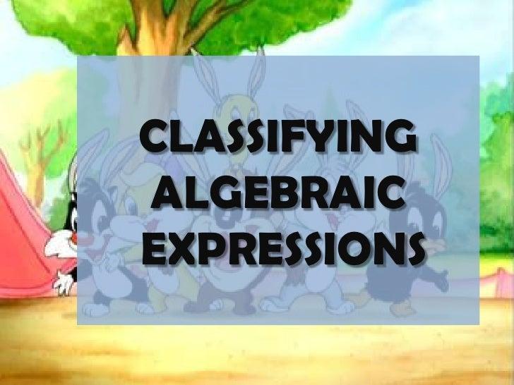 CLASSIFYING ALGEBRAIC EXPRESSIONS<br />