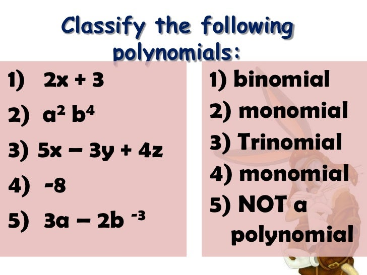 degree of a monomial