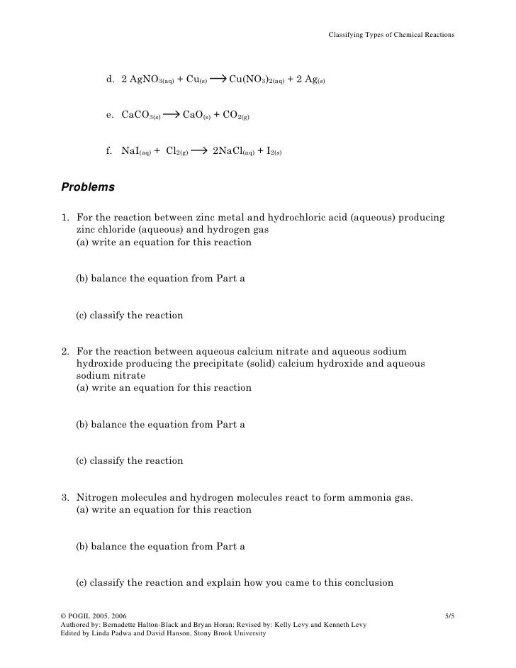 Classifying typesofchemicalreactionsoriginal – Reaction Types Worksheet Answer Key