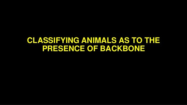 classifying animals as to the presence of backbone