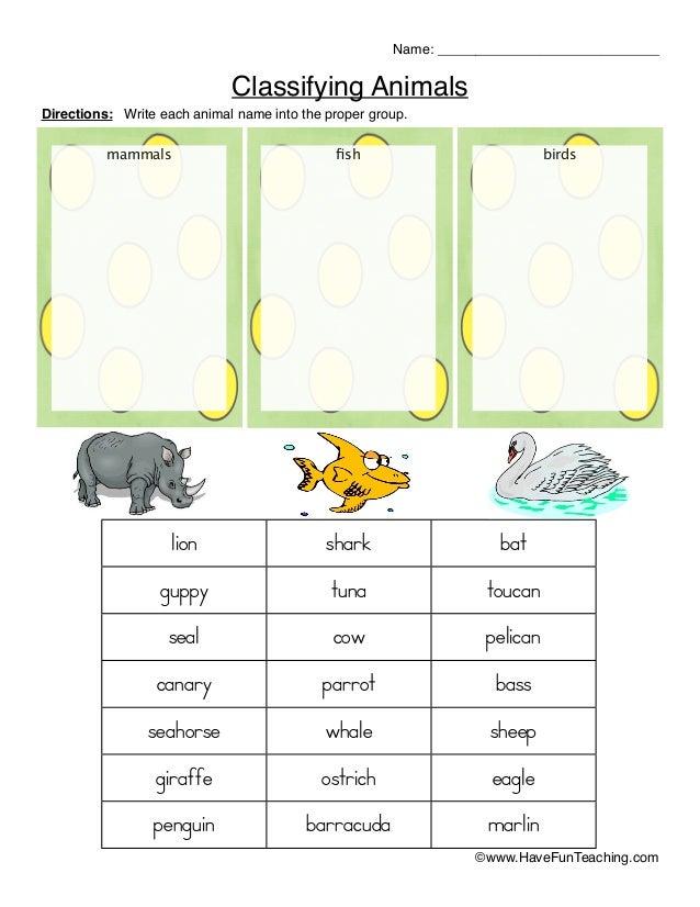 Classifying animals worksheet_