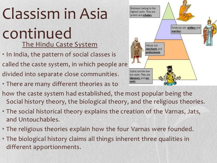 Classism in Asiacontinued System   The Hindu Caste• In India, the pattern of social classes iscalled the caste system, in ...