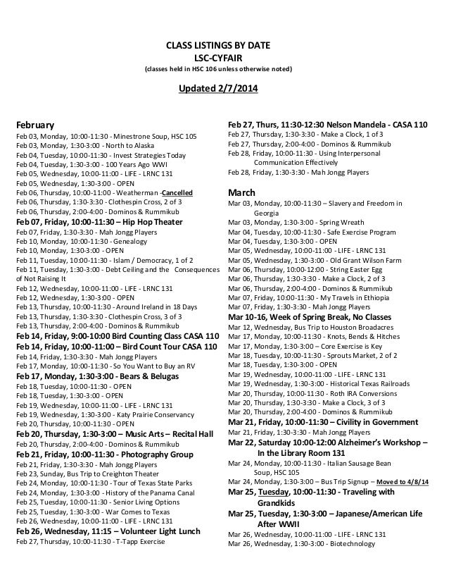 CLASS LISTINGS BY DATE LSC-CYFAIR (classes held in HSC 106 unless otherwise noted)  Updated 2/7/2014  February  Feb 27, Th...