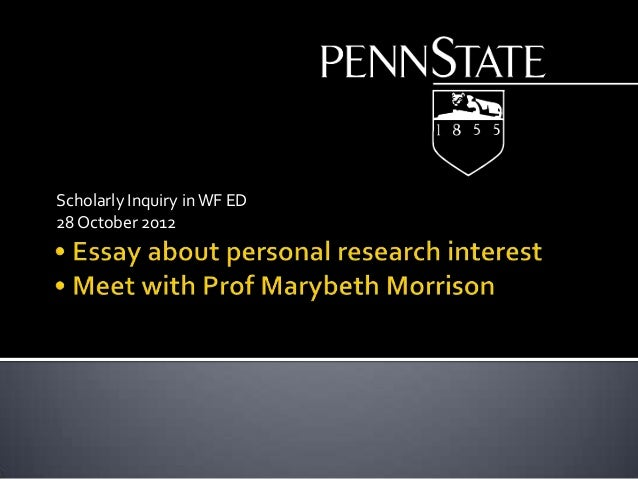 Scholarly Inquiry in WF ED 28 October 2012