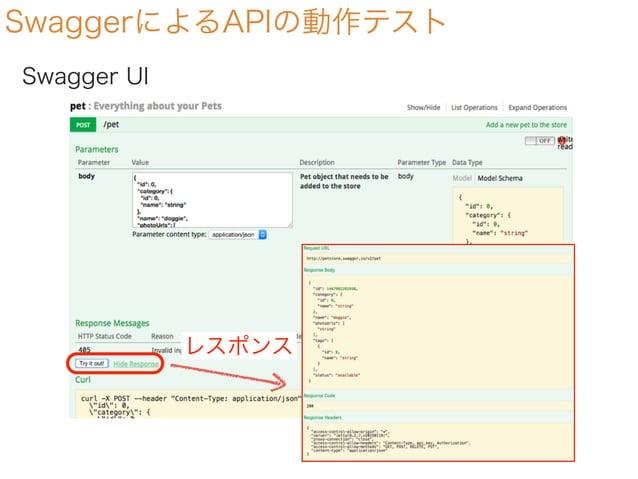 SwaggerによるAPIの動作テスト Swagger UI レスポンス