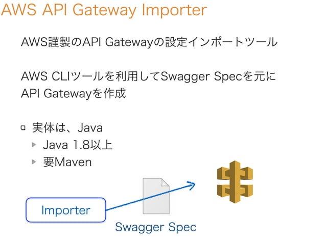 AWS API Gateway Importer AWS謹製のAPI Gatewayの設定インポートツール AWS CLIツールを利用してSwagger Specを元に API Gatewayを作成 実体は、Java Java 1.8以上 要M...