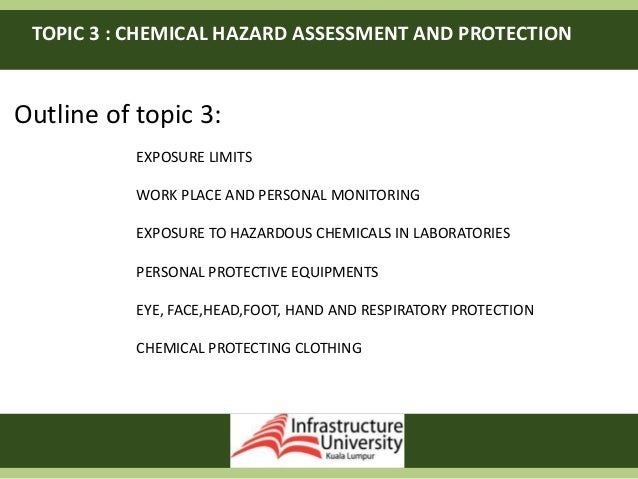 TOPIC 3 : CHEMICAL HAZARD ASSESSMENT AND PROTECTION Outline of topic 3: EXPOSURE LIMITS WORK PLACE AND PERSONAL MONITORING...