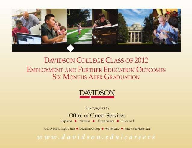 DAVIDSON COLLEGE CLASS OF 2012 Employment and Further Education Outcomes Six Months Afer Graduation  Report prepared by  O...