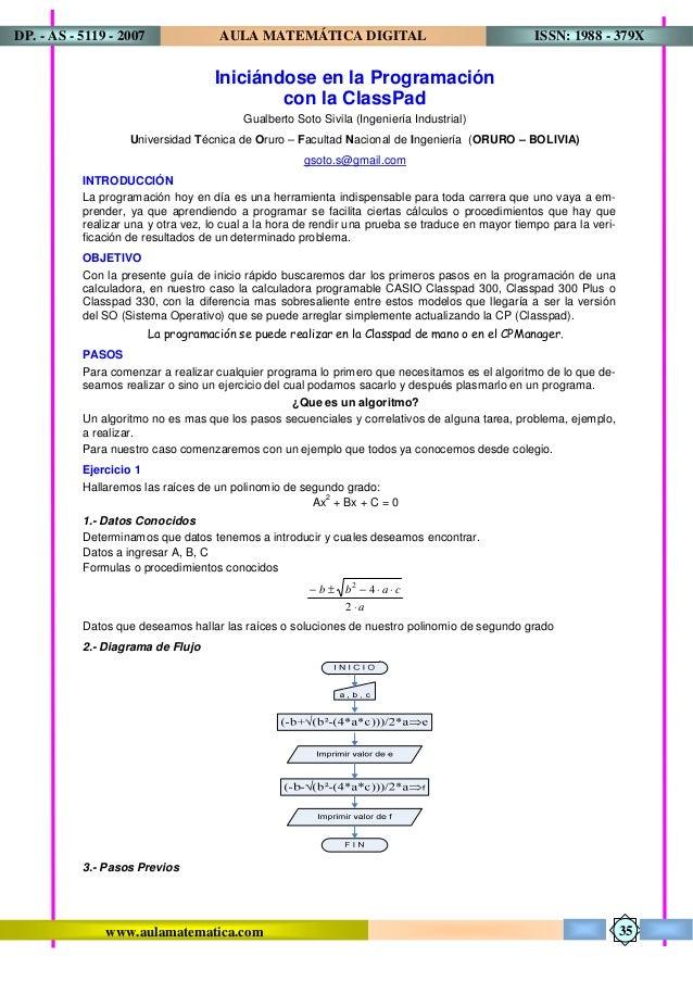 www.aulamatematica.com ISSN: 1988 - 379XAULA MATEMÁTICA DIGITALDP. - AS - 5119 - 2007 35 Iniciándose en la Programación co...