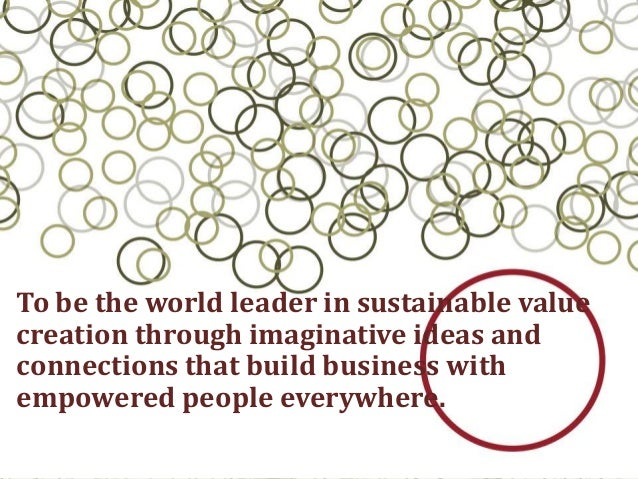 To be the world leader in sustainable valuecreation through imaginative ideas andconnections that build business withempow...
