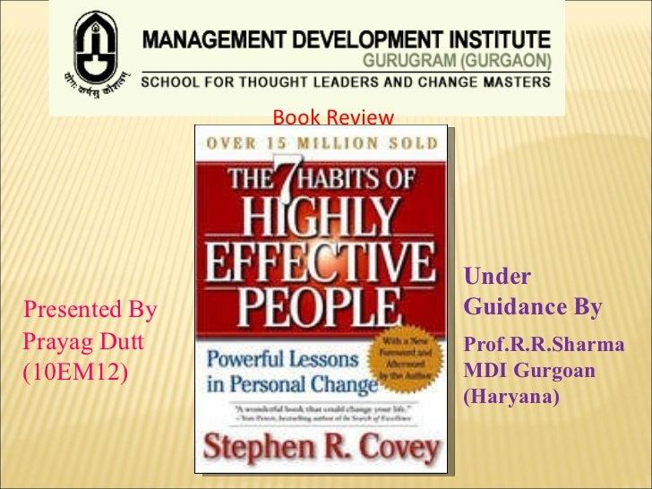 Book Review   Presented By Prayag Dutt (10EM12)  Under Guidance By Prof.R.R.Sharma MDI Gurgoan (Haryana)