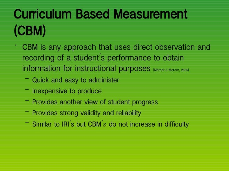 curriculum based assessment math