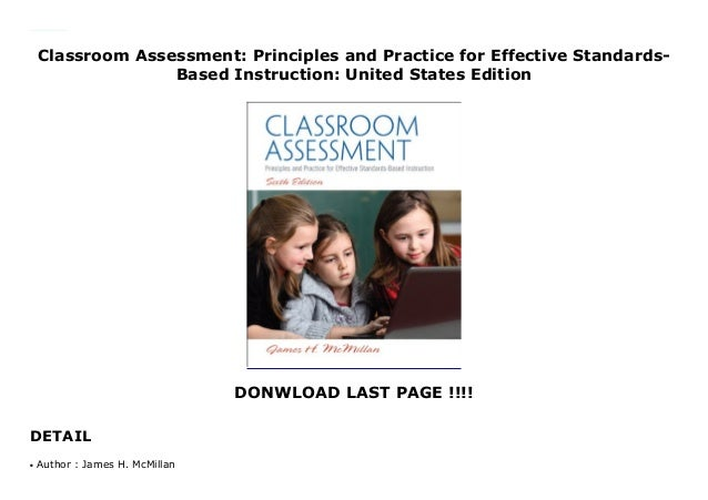 Classroom Assessment: Principles and Practice for Effective Standards- Based Instruction: United States Edition DONWLOAD L...
