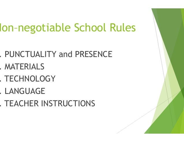 Ground rules and non negotiable rules