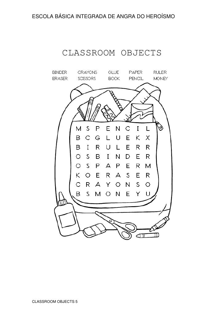 Classroom Objects 5 – Classroom Objects in Spanish Worksheet