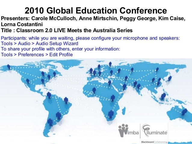 2010 Global Education Conference Presenters: Carole McCulloch, Anne Mirtschin, Peggy George, Kim Caise, Lorna Costantini T...