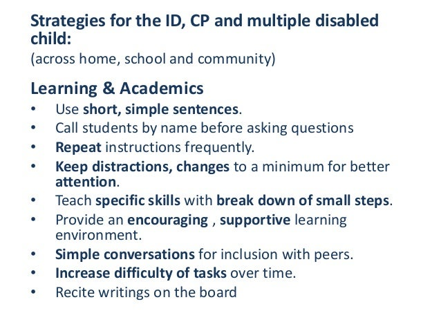 Classroom Accommodations Teaching Strategies For Intellectually Dis