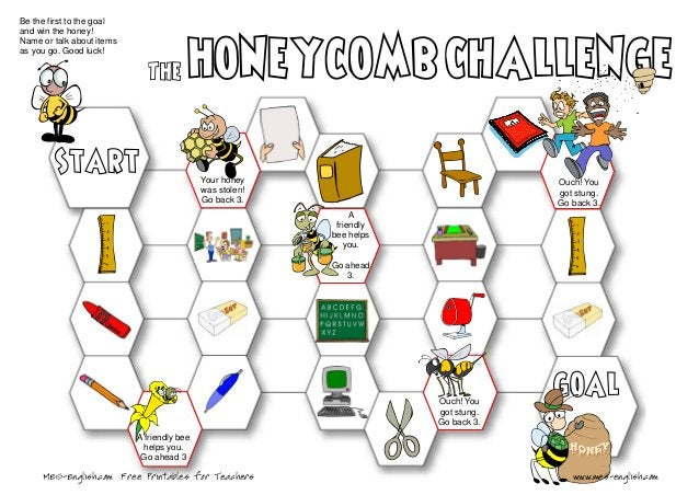 Be the first to the goal and win the honey! Name or talk about items as you go. Good luck! A friendly bee helps you. Go ah...