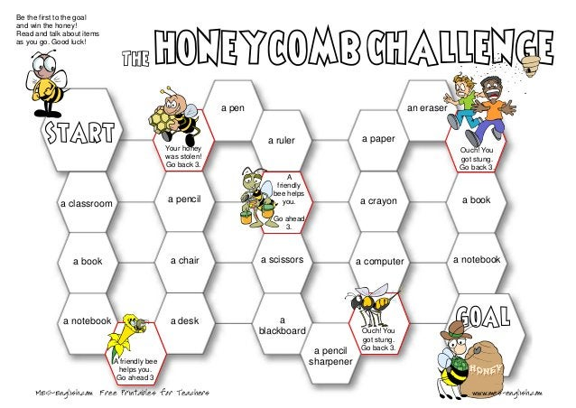 Be the first to the goal and win the honey! Read and talk about items as you go. Good luck! A friendly bee helps you. Go a...