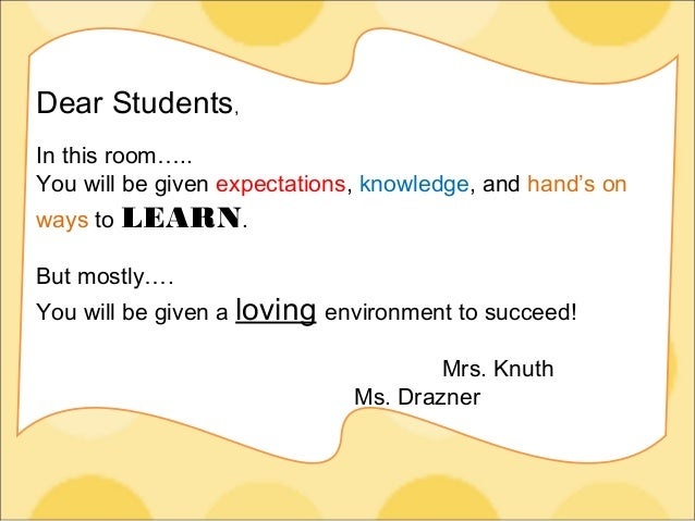 Dear Students, In this room….. You will be given expectations, knowledge, and hand's on ways to LEARN. But mostly…. You wi...