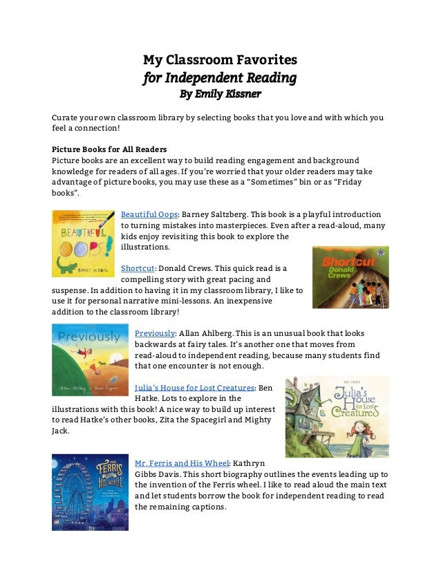 My Classroom Favorites for Independent Reading By Emily Kissner  Curate your own classroom library by selecting books tha...
