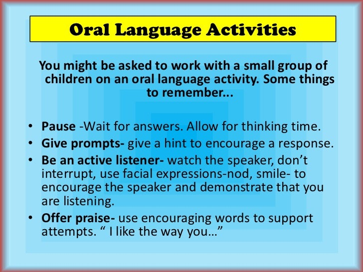 oral language activity A collection of preschool ideas that strengthen communication and language skills encourages 3 year olds to talk more with their peers.