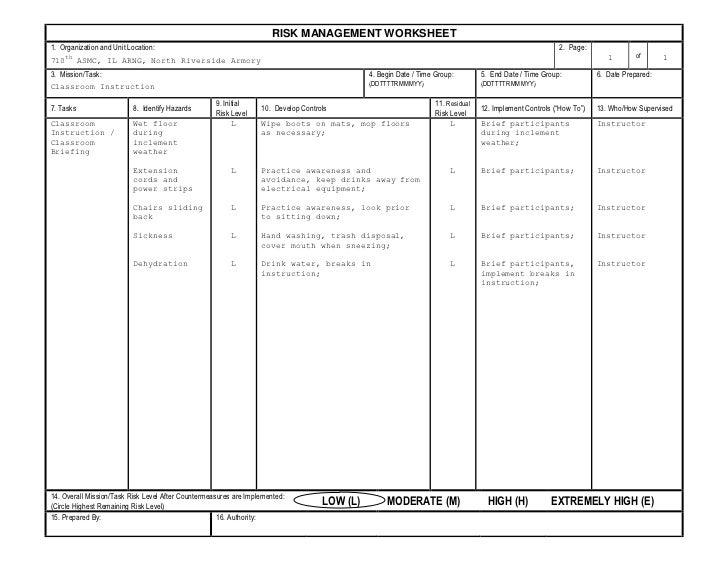 Risk Management Worksheet Fillable   ABITLIKETHIS