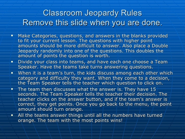 Classroom jeopardy rules – Blank Jeopardy Template