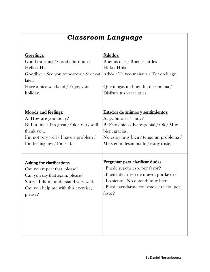 Classroom LanguageGreetings:                                  Saludos:Good morning / Good afternoon /             Buenos d...