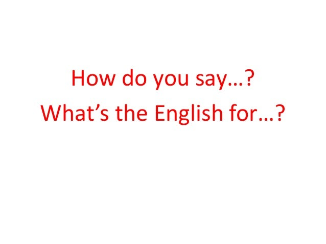 How do you say…?  What's the English for…?