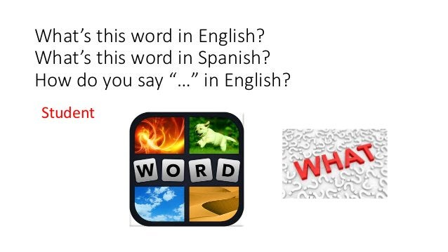 """What's this word in English? What's this word in Spanish? How do you say """"…"""" in English? Student"""