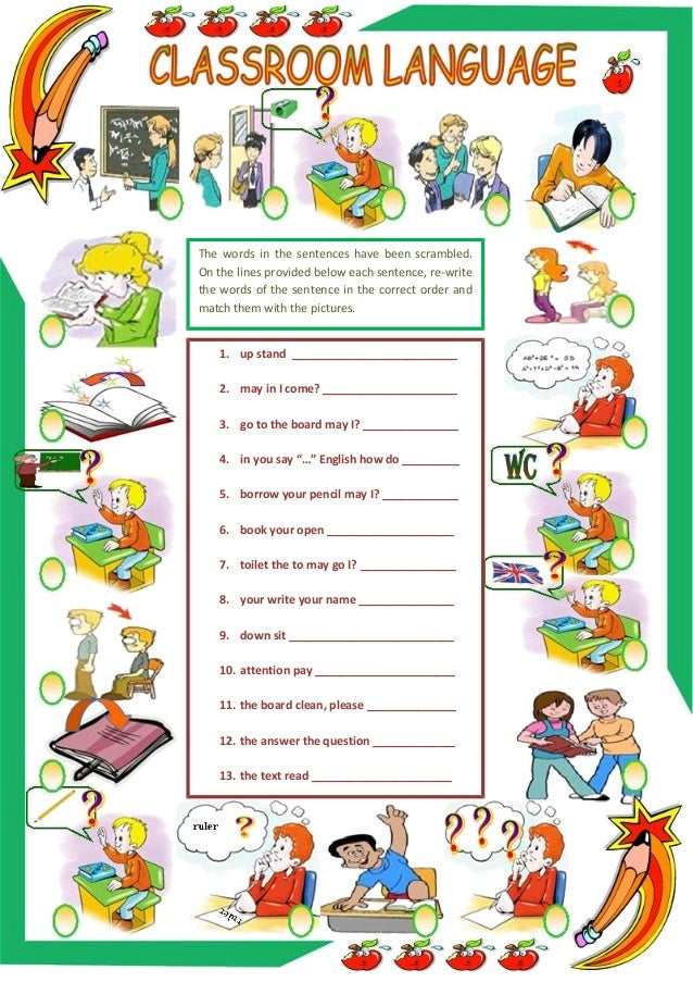 Classroom Decoration Word Worksheet ~ Classroom language scrambled sentences worksheet
